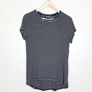 H by Bordeaux Striped Cutout Back Tee